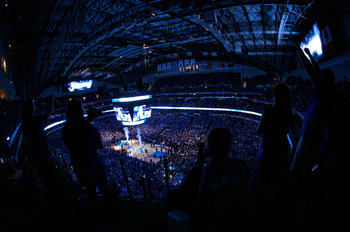 DALLAS, TX - JUNE 09:  A general interior view of pregame introductions between the Dallas Mavericks and the Miami Heat in Game Five of the 2011 NBA Finals at American Airlines Center on June 9, 2011 in Dallas, Texas.  NOTE TO USER: User expressly acknowl