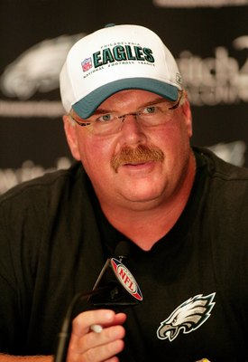 PHILADELPHIA - AUGUST 15:  Head coach Andy Reid of the Philadelphia Eagles speaks at a press conference regarding Michael Vick at the NovaCare Complex on August 15, 2009 in Philadelphia, Pennsylvania.  (Photo by Len Redkoles/Getty Images)