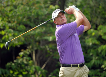 DUBLIN, OH - JUNE 04:  Steve Stricker hits his tee shot on the par 4 13th hole during the third round of the Memorial Tournament presented by Nationwide Insurance at Muirfield Village Golf Club on June 4, 2011 in Dublin, Ohio.  (Photo by Andy Lyons/Getty