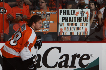 PHILADELPHIA, PA - APRIL 26:  Claude Giroux #28 of the Philadelphia Flyers skates during warmups prior to their game against the Buffalo Sabres in Game Seven of the Eastern Conference Quarterfinals during the 2011 NHL Stanley Cup Playoffs at Wells Fargo C