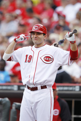CINCINNATI, OH - JUNE 6: Joey Votto #19 of the Cincinnati Reds smiles before batting against the Chicago Cubs at Great American Ball Park on June 6, 2011 in Cincinnati, Ohio. (Photo by Joe Robbins/Getty Images)
