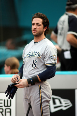 MIAMI GARDENS, FL - JUNE 06:  Ryan Braun #8 of the Milwaukee Brewers stands on deck against the Florida Marlins at Sun Life Stadium on June 6, 2011 in Miami Gardens, Florida.  (Photo by Marc Serota/Getty Images)