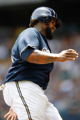 MILWAUKEE, WI - JUNE 12: Prince Fielder #28 of the Milwaukee Brewers runs against the St. Louis Cardinals at Miller Park on June 12, 2011 in Milwaukee, Wisconsin. The Brewers defeated the Cardinals 4-3. (Photo by Scott Boehm/Getty Images)