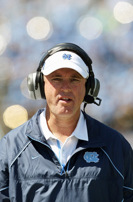 CHAPEL HILL, NC - SEPTEMBER 18:  Head coach Butch Davis of the North Carolina Tar Heels watches on against the Georgia Tech Yellow Jackets during their game at Kenan Stadium on September 18, 2010 in Chapel Hill, North Carolina.  (Photo by Streeter Lecka/G