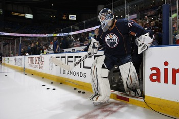 EDMONTON, CANADA - MARCH 17: Devan Dubnyk #40 of the Edmonton Oilers during the game against the Phoenix Coyotes on March 17, 2011 at Rexall Place in Edmonton, Alberta, Canada. (Photo by Dale MacMillan/Getty Images)