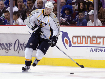 VANCOUVER, CANADA - APRIL 28: Nick Spaling #13 of the Nashville Predators skates with the puck during Game One of the Western Conference Semifinals against the Vancouver Canucks during the 2011 NHL Stanley Cup Playoffs on April 28, 2011 at Rogers Arena in