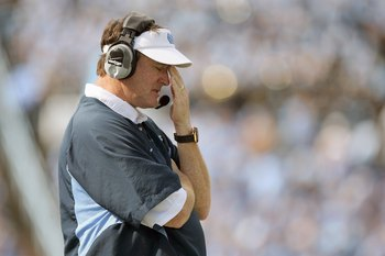 CHAPEL HILL - OCTOBER 25: Head coach Butch Davis of the North Carolina Tar Heels reacts on the field during the game against the Boston College Eagles at Kenan Stadium on October 25, 2008 in Chapel Hill, North Carolina. (Photo by: Streeter Lecka/Getty Ima
