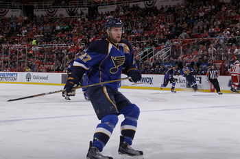 DETROIT, MI - MARCH 30:  Alex Pietrangelo #27 of the St. Louis Blues skates against the Detroit Red Wings at Joe Louis Arena on March 30, 2011 in Detroit, Michigan.  (Photo by Gregory Shamus/Getty Images)