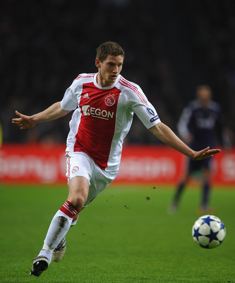 AMSTERDAM, NETHERLANDS - NOVEMBER 23: Jan Vertonghen of Ajax in action during the UEFA Champions League Group G match between AFC Ajax and Real Madrid at the Ajax Arena on November 23, 2010 in Amsterdam, Netherlands.  (Photo by Laurence Griffiths/Getty Im
