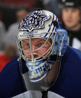 NEWARK, NJ - APRIL 06: James Reimer #34 of the Toronto Maple Leafs keeps an eye on the action in his game against the New Jersey Devils at the Prudential Center on April 6, 2011 in Newark, New Jersey. The Devils defeated the Maple Leafs 4-2. (Photo by Bru