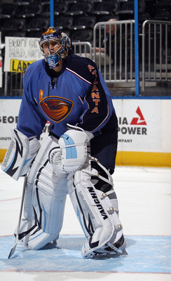 ATLANTA, GA - MARCH 27:  Ondrej Pavelec #31 of the Atlanta Thrashers skates in warmups prior to the game against the Ottawa Senators at the Philips Arena on March 27, 2011 in Atlanta, Georgia. The Thrashers defeated the 5-4 in the shoot out.  (Photo by Br