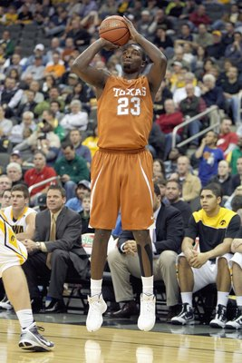 KANSAS CITY, MO - NOVEMBER 23:  Jordan Hamilton #23 of the Texas Longhorns makes a jumpshot against the Iowa Hawkeyes during the CBE Classic semifinal game on November 23, 2009 at Sprint Center in Kansas City, Missouri. (Photo by: Jamie Squire/Getty Image
