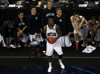 HOUSTON, TX - APRIL 02:  Shelvin Mack #1 of the Butler Bulldogs looks to pass the ball in while taking on the Virginia Commonwealth Rams during the National Semifinal game of the 2011 NCAA Division I Men's Basketball Championship at Reliant Stadium on Apr