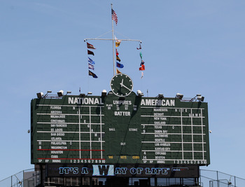 CHICAGO, IL - JUNE 01: The scoreboard is seen before a game between the Chicago Cubs and the Houston Astros at Wrigley Field on June 1, 2011 in Chicago, Illinois. The Astros defeated the Cubs 3-1.(Photo by Jonathan Daniel/Getty Images)