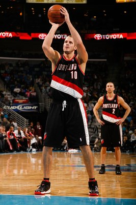NEW ORLEANS - NOVEMBER 13:  Joel Przybilla #10 of the Portland Trail Blazers shoots a free throw against the New Orleans Hornets at the New Orleans Arena on November 13, 2009 in New Orleans, Louisiana.  NOTE TO USER: User expressly acknowledges and agrees
