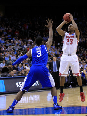 NEWARK, NJ - MARCH 25:  David Lighty #23 of the Ohio State Buckeyes in action against Terrence Jones #3 of the Kentucky Wildcats during the east regional semifinal of the 2011 NCAA Men's Basketball Tournament at the Prudential Center on March 25, 2011 in