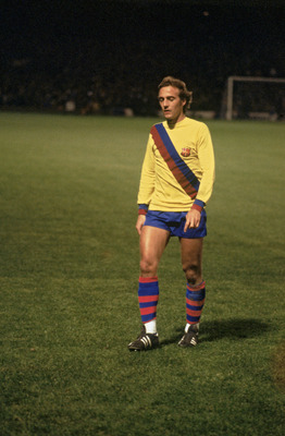 Dutch midfielder Johan Neeskens playing for Spanish club FC Barcelona, late 1970s. (Photo by Allsport/Getty Images)