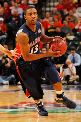 INDIANAPOLIS - MARCH 12:  Guard Jeff Jordan #13 of the Illinois Fighting Illini drives with the ball against the Wisconsin Badgers during the quarterfinals of the Big Ten Men's Basketball Tournament at Conseco Fieldhouse on March 12, 2010 in Indianapolis,
