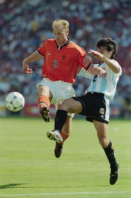 4 Jul 1998:  Dennis Bergkamp of Holland goes past Roberto Ayala of Argentina during the World Cup quarter-final match at the Stade Velodrome in Marseille, France. Bergkamp scored a late winner as Holland won 2-1. \ Mandatory Credit: Ben Radford /Allsport