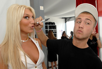 Brooke Hogan's brother Nick threatens to sign her face in the Sharpie suite at the Style Villa at Miami Beach, Florida on February 2, 2007. With spokesman Donald Driver of the Green Bay Packers, Sharpie launched their 'Autographs for Action' campaign feat