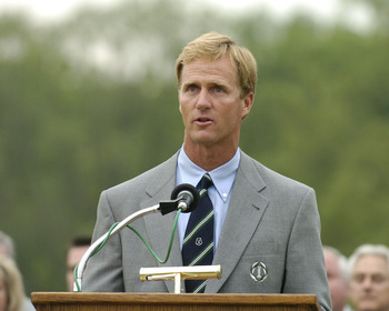 Jack Nicklaus II hosts the award presentations after   final-round  play in The Memorial Tournament, June 6, 2004 in Dublin, Ohio. (Photo by A. Messerschmidt/Getty Images)