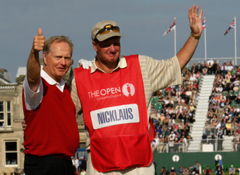 ST. ANDREWS, UNITED KINGDOM - JULY 15:  Jack Nicklaus of the USA with his son and caddy Steve Nicklaus wave to the crowd on the 18th hole at what could be his last British Open during the second round of the 134th Open Championship at Old Course, St. Andr