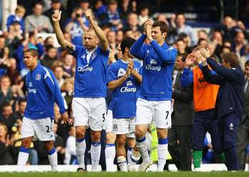 LIVERPOOL, ENGLAND - MAY 09:  John Heitinga and Diniyar Bilyaletdinov of Everton thank the supoorters after the Barclays Premier League match between Everton and Portsmouth at Goodison Park on May 9, 2010 in Liverpool, England.  (Photo by Matthew Lewis/Ge
