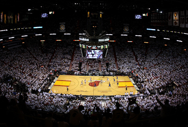 MIAMI, FL - JUNE 12: A general view of the Dallas Mavericks playing against the Miami Heat  in Game Six of the 2011 NBA Finals at American Airlines Arena on June 12, 2011 in Miami, Florida. NOTE TO USER: User expressly acknowledges and agrees that, by dow