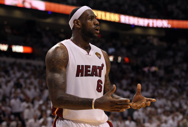 MIAMI, FL - JUNE 12:  LeBron James #6 of the Miami Heat reacts against the Dallas Mavericks in Game Six of the 2011 NBA Finals at American Airlines Arena on June 12, 2011 in Miami, Florida. NOTE TO USER: User expressly acknowledges and agrees that, by dow