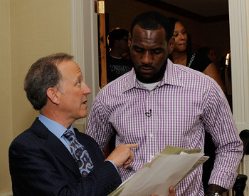 GREENWICH, CT - JULY 08:  (EXCLUSIVE COVERAGE)  Jim Gray of ESPN speaks with LeBron James at attends the LeBron James Pre Decision Meet and Greet on July 8, 2010 in Greenwich, Connecticut. Proceeds from tonight's 2.5 million dollar event will be donated t
