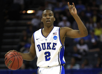 CHARLOTTE, NC - MARCH 20:  Nolan Smith #2 of the Duke Blue Devils calls a play in the second half while taking on the Michigan Wolverines during the third round of the 2011 NCAA men's basketball tournament at Time Warner Cable Arena on March 20, 2011 in C