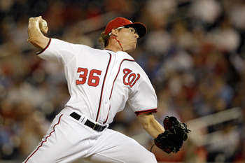 WASHINGTON, DC - MAY 31:  Pitcher Tyler Clippard #36 of the Washington Nationals delivers to a Philadelphia Phillies batter at Nationals Park on May 31, 2011 in Washington, DC. The Braves won 2-0. (Photo by Rob Carr/Getty Images)