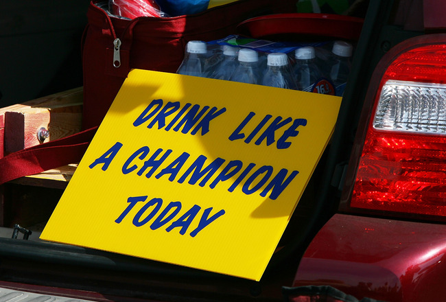 SOUTH BEND, IN - SETPEMBER 19: A sign in a tailgater's car before a game between the Notre Dame Fighting Irish and the Michigan State Spartans on September 19, 2009 at Notre Dame Stadium in South Bend, Indiana. (Photo by Jonathan Daniel/Getty Images)