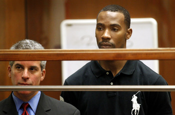 LOS ANGELES, CA - AUGUST 31:  Former Los Angeles Lakers guard Javaris Crittenton (R) appears in Los Angeles Superior Court for an extradition hearing with his attorney Brian Steel August 31, 2011 in Los Angeles, California. The hearing wasin connection wi