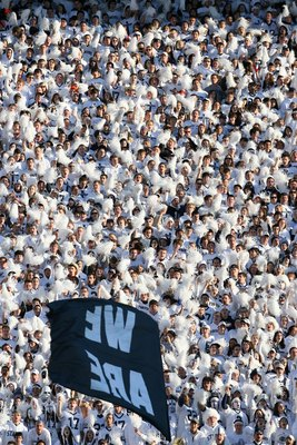 STATE COLLEGE, PA - NOVEMBER 7: Penn State Nittany Lion fans cheer during a game against the Ohio State Buckeyes on November 7, 2009 at Beaver Stadium in State College, Pennsylvania. Ohio State won 24-7. (Photo by Hunter Martin/Getty Images)
