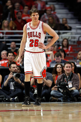 CHICAGO, IL - MAY 18:  Kyle Korver #26 of the Chicago Bulls looks on against the Miami Heat in Game Two of the Eastern Conference Finals during the 2011 NBA Playoffs on May 18, 2011 at the United Center in Chicago, Illinois. NOTE TO USER: User expressly a