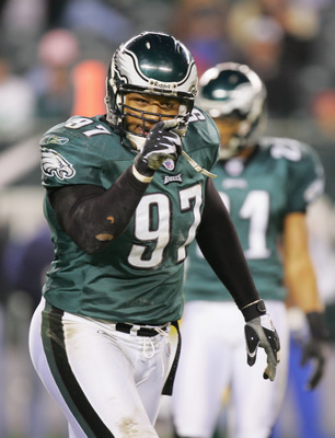 PHILADELPHIA - DECEMBER 5:  Darwin Walker #97 of the Philadelphia Eagles gestures on the field during the game against the Green Bay Packers at Lincoln Financial Field on December 5, 2004 in Philadelphia, Pennsylvania. The Eagles defeated the Packers 47-1