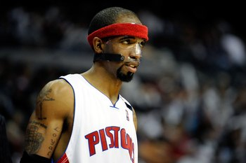 AUBURN HILLS, MI - APRIL 24:  Richard Hamilton #32 of the Detroit Pistons looks across the court in Game Three of the Eastern Conference Quarterfinals against the Cleveland Cavaliers during the 2009 NBA Playoffs at the Palace of Auburn Hills on April 24,