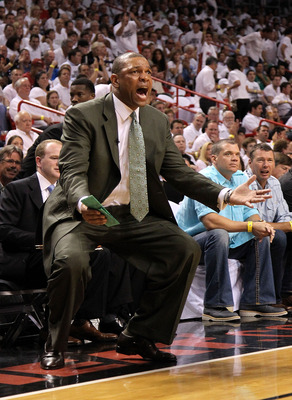 MIAMI, FL - MAY 11:  Boston Celtics head coach Doc Rivers reacts on the sideline during Game Five of the Eastern Conference Semifinals of the 2011 NBA Playoffs against the Miami Heat at American Airlines Arena on May 11, 2011 in Miami, Florida. NOTE TO US