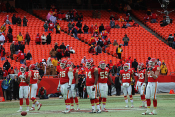KANSAS CITY, MO - JANUARY 09:  Fans of the Kansas City Chiefs begin to leave the stadium in the final minutes as the Baltimore Ravens defeated the Chiefs 30-7 in the 2011 AFC wild card playoff game at Arrowhead Stadium on January 9, 2011 in Kansas City, M