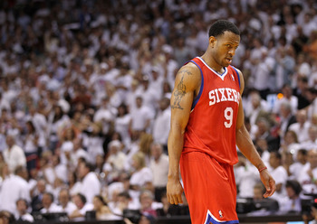 MIAMI, FL - APRIL 27:  Andre Iguodala #9 of the Philadelphia 76ers walks off the floor during game five of the Eastern Conference Quarterfinals in the 2011 NBA Playoffs against the Miami Heat at American Airlines Arena on April 27, 2011 in Miami, Florida.