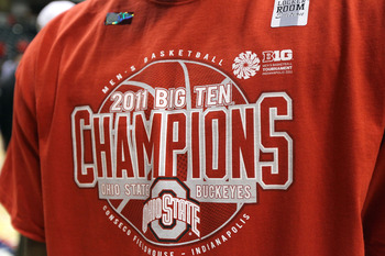 INDIANAPOLIS, IN - MARCH 13:  A detail of a t-shirt which reads Ohio State Buckeyes 2011 Big Ten Champions after they won 71-60 against the Penn State Nittany Lions during the championship game of the 2011 Big Ten Men's Basketball Tournament at Conseco Fi