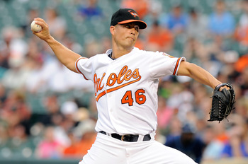 BALTIMORE, MD - JUNE 11:  Jeremy Guthrie #46  the Baltimore Orioles pitches against the Tampa Bay Rays at Oriole Park at Camden Yards on June 11, 2011 in Baltimore, Maryland.  (Photo by Greg Fiume/Getty Images)