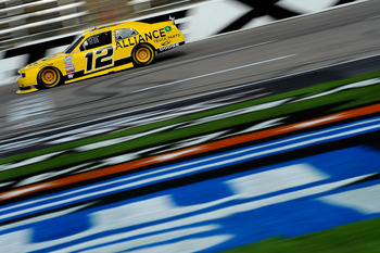FORT WORTH, TX - APRIL 08:  Sam Hornish Jr., driver of the #12 Alliance Parts Dodge, practices for the NASCAR Nationwide Series O'Reilly Auto Parts 300 at Texas Motor Speedway on April 8, 2011 in Fort Worth, Texas.  (Photo by Jared C. Tilton/Getty Images