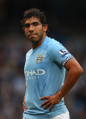 MANCHESTER, ENGLAND - MAY 17:  Carlos Tevez of Manchester City during the Barclays Premier League match between Manchester City and Stoke City at City of Manchester Stadium on May 17, 2011 in Manchester, England.  (Photo by Clive Brunskill/Getty Images)