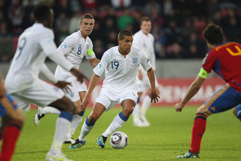 HERNING, DENMARK - JUNE 12: Jack Rodwell (C) of England during the UEFA European Under-21 Championship Group B match between England and Spain at the Herning Stadium on June 12, 2011 in Herning, Denmark.  (Photo by Michael Steele/Getty Images)