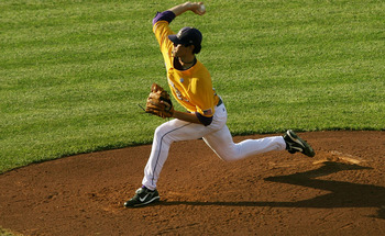 OMAHA, NE - JUNE 24:  Pitcher Anthony Ranaudo #23 of the Louisiana State University Tigers pitches against the Texas Longhorns during Game 3 of the 2009 NCAA College World Series at Rosenblatt Stadium on June 24, 2009 in Omaha, Nebraska. (Photo by Elsa/Ge