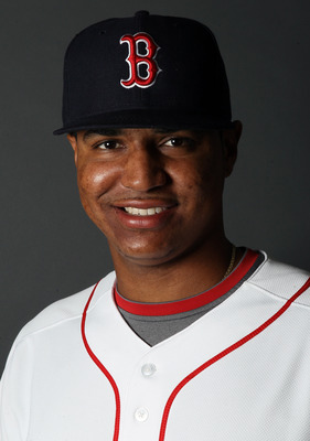 FT. MYERS, FL - FEBRUARY 20:  Stolmy Pimentel #74 of the Boston Red Sox poses for a portrait during the Boston Red Sox Photo Day on February 20, 2011 at the Boston Red Sox Player Development Complex in Ft. Myers, Florida  (Photo by Elsa/Getty Images)