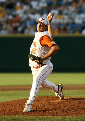 OMAHA, NE - JUNE 24:  Pitcher Brandon Workman #12 of the Texas Longhorns pitches on the mound against the Louisiana State University Tigers during Game 3 of the 2009 NCAA College World Series at Rosenblatt Stadium on June 24, 2009 in Omaha, Nebraska. (Pho