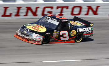 DARLINGTON, SC - MARCH 12:  Austin Dillon, driver of the #3 Bass Pro Shops Chevrolet, drives on track during practice for the Too Tough to Tame 200 at Darlington Raceway on March 12, 2011 in Darlington, South Carolina.  (Photo by Geoff Burke/Getty Images
